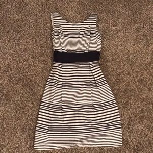 AGBDress Navy and White Striped with Bow on Back